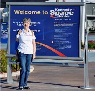 Author Loretta Hall at Kennedy Space Center